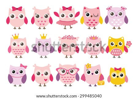 Cute girl owls vector set. Baby showers, parties for baby girls. - stock vector