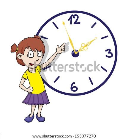Cute girl pointing at a clock, vector illustration - stock vector