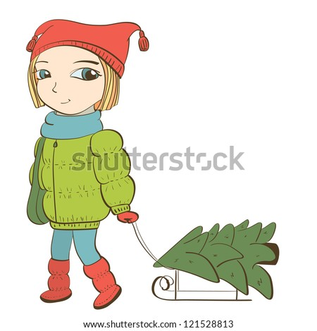 cute girl pulling sled with christmas tree. isolated on white. vector illustration