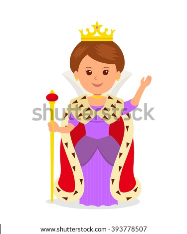 Cute girl Queen. Isolated female character in a princess costume with a crown and scepter on a white background