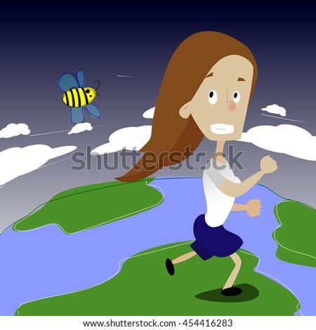 Image result for running away girl