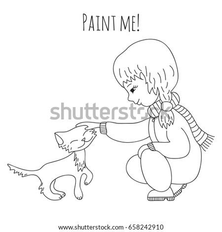 Cute Girl Stroking Kitten Coloring Book Stock Vector 658242910 ...