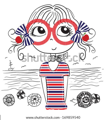cute girl/T-shirt Graphic/the children's book illustrations/fashion girl graphic/sea-themed illustrations/illustration beautiful girl/beach girl/sweet girl/pretty girl/character design - stock vector