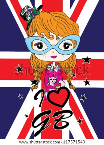 cute girl / T-shirt graphics / cute cartoon characters / cute graphics for kids / Book illustrations / textile graphic - stock vector