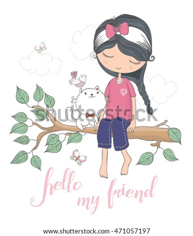cute girl vector / T-shirt print/Book illustrations for children/Romantic hand drawing poster/cartoon character/For apparel or other uses in vector.