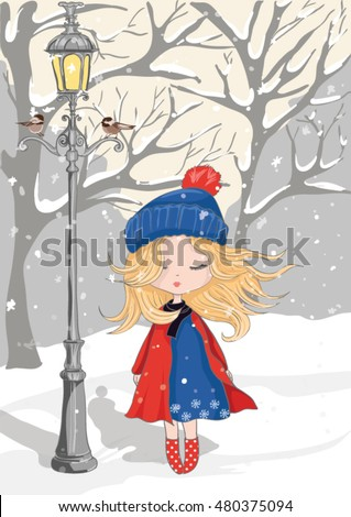 cute girl vector/T-shirt print/Book illustrations for children/Romantic hand drawing poster/cartoon character/New year-themed graphic