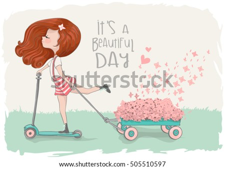 cute girl vector/T-shirt print/Book illustrations for children/Romantic hand drawing poster/cartoon character/For apparel or other uses,in vector/Skateboarding kid/it's a beautiful day