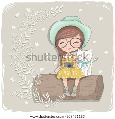 cute girl vector/T-shirt print/Book illustrations for children/Romantic hand drawing poster/cartoon character/For apparel or other uses,in vector/children print/cat vector