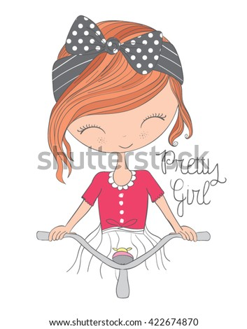 cute girl vector/T-shirt print/typography design/Book illustrations for children/Romantic hand drawing poster/cartoon character/For apparel or other uses in vector.