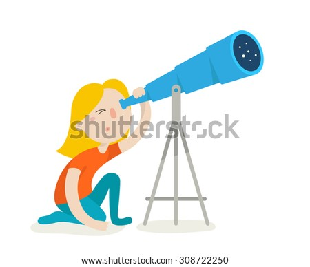 Cute girl watching through telescope. Flat design vector illustration isolated on white background - stock vector