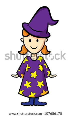cute girl wearing witch costume - stock vector