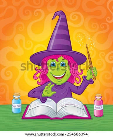 Cute Girl Witch Casting A Spell - stock vector