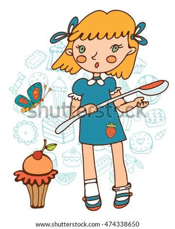 Cute girl with a huge cupcake holding a big spoon.
