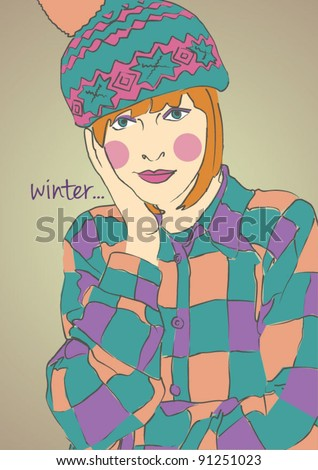 cute girl with a winter hat