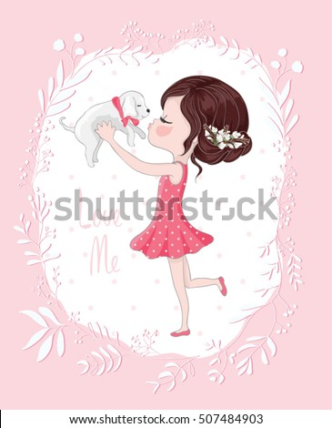 Cute girl with dog/cute dog illustration for apparel/Book illustrations for children/T-shirt Graphic/Girl with flowers/Romantic hand drawing poster/cartoon character/children art