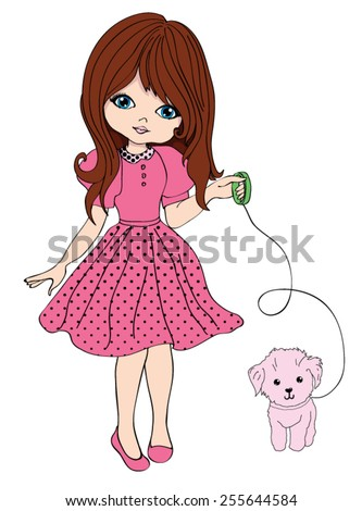 cute girl with dog/T-shirt Graphics - stock vector