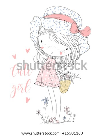 Cute girl with flowers - stock vector