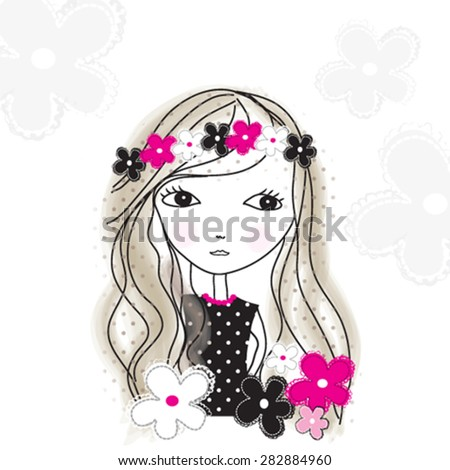 cute girl with flowers, T-shirt design vector illustration - stock vector