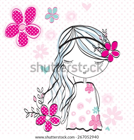 cute girl with flowers vector illustration - stock vector