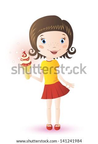 Cute girl with ice cream - stock vector