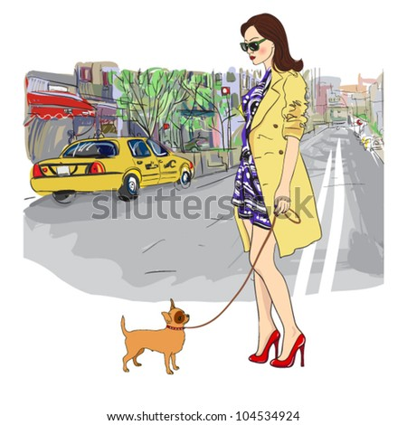 cute girl with little dog on a street background. vector illustration - stock vector