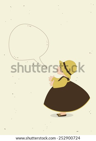 Cute girl with speech bubble - stock vector