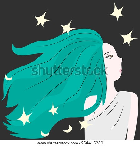 Cute girl with stars. Vector illustration.