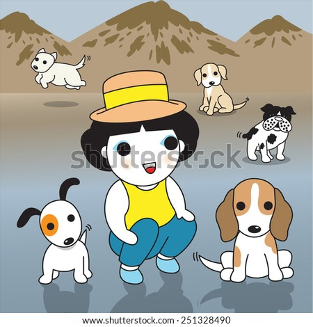 Cute Girls and Puppies on the Beach illustration set - stock vector