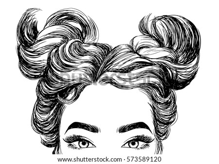 Cute Girls Hairstyles Stock Photo Vector Illustration