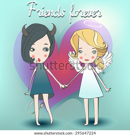 cute girls in angel and demon costume - stock vector
