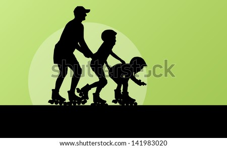 Cute girls in roller skates with father vector background family concept - stock vector