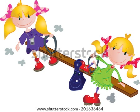 Cute girls on the seesaw - stock vector