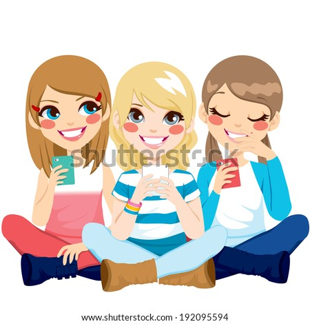 Cute girls sitting on floor using their smartphones smiling happy - stock vector