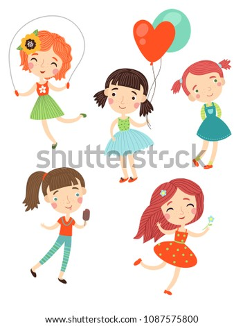 Cute girls vector set