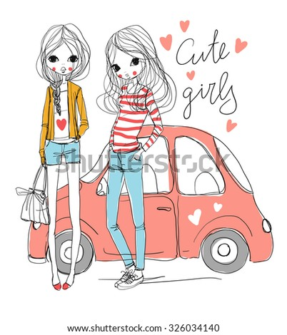 cute girls with car  - stock vector