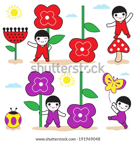 Cute girls with Spring-Summer flowers blossom illustration set - stock vector