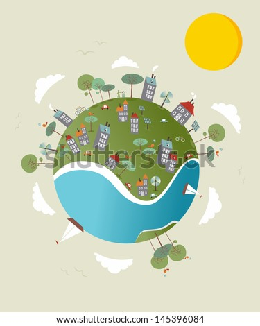 Cute go green environment world sketch. Vector illustration layered for easy manipulation and custom coloring. - stock vector