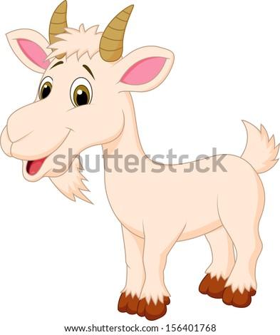 Cute goat cartoon - stock vector