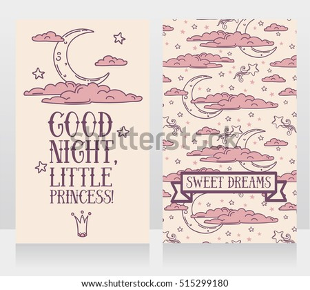 "Cute ""Good night, little princess"" cards, vector illustration"