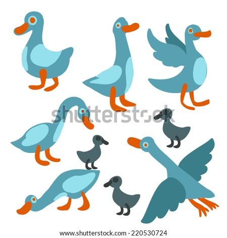 cute goose set - stock vector