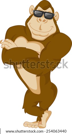 cute gorilla cartoon - stock vector
