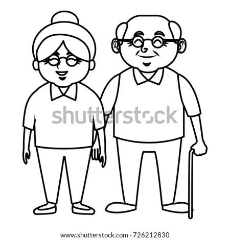 Cute Couple Cartoon Black And White Simple Black White Gra...