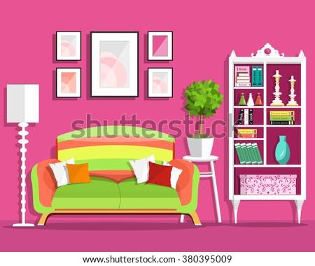 Cute Graphic Living Room Interior Design Stock Vector HD (Royalty ...