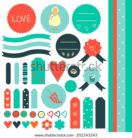 Cute graphic scrapbook elements in retro style with sheep, cupcake, strawberry and grape. Sweet sticker collection.