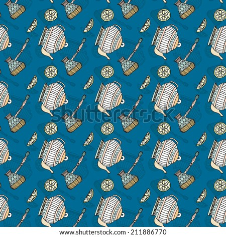 Cute graphical seamless texture with teapots. Desert menu background.  - stock vector