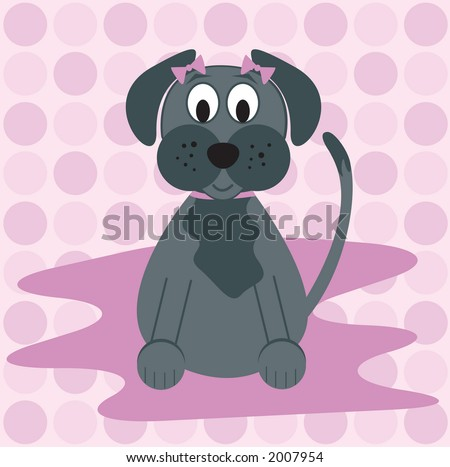 Cute gray pooch with pink polka-dots. - stock vector