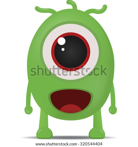 Cute green cartoon monster.Vector isolated. - stock vector