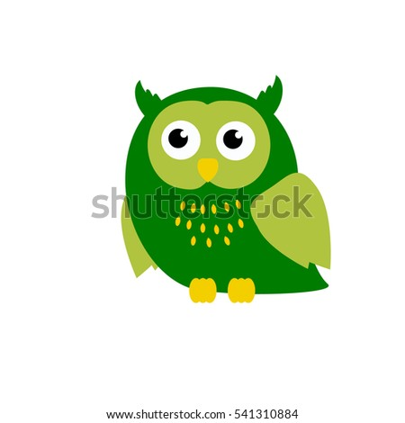 Cute green cartoon owl in flat design for greeting card, invitation and logo.Vector illustration.