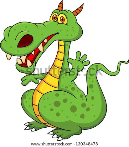 Cute green dragon cartoon - stock vector