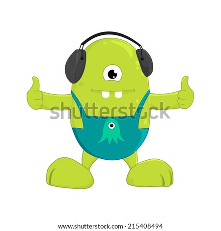 Cute Green Monster. Isolated on white Vector Illustration - stock vector